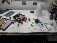 This is where I watercolor my etchings